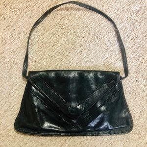 Leather Shoulder Bag (or Clutch) Triangular Flap